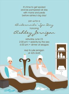 Pamper the bride with this Noteworthy Collections Spa Party invite!