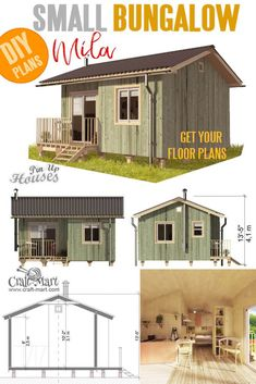 Small and tiny Home plans with cost to build - Small Bungalow House Plans Mila Small and tiny Home plans with cost to build - Small Bungalow House Plans Mila Small Cabin Plans, A Frame House Plans, House Plan With Loft, A Frame Cabin, Small Bungalow, Bungalow House Plans, Small House Plans, Tiny House Trailer, Tiny House Cabin