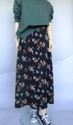 long floral skirt, black maxi skirt, 90s vintage, long aline skirt, 90s grunge…