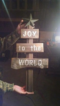 Beautiful Rustic Christmas Decor - Joy to the world sign on a reclaimed wood tree