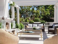 Outdoor rooms take advantage of extra space and add a casual entertaining area in your home. Here are 10 gorgeous ideas to inspire your own outdoor oasis. Outdoor Living Rooms, Outside Living, Outdoor Spaces, Outdoor Decor, Outdoor Lounge, Outdoor Dining, New Architecture, Modern Mansion, Colonial Mansion