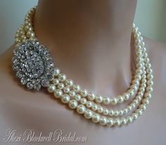 Pearl Bridal Necklace Set - Brooch Necklace with Rhinestone embellishment 3 strands of Swarovski pearls - choice of color wedding jewelry