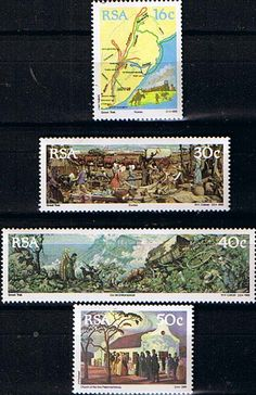 South Africa 1988 The Great Trek Set Fine Mint SG 637 40 Scott 758 61 Condition Fine MNH Only one post charge applied Apartheid, Vintage Stamps, My Land, Handmade Books, Afrikaans, African History, Stamp Collecting, Childhood Memories, Trek