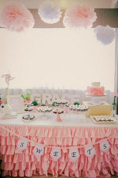Dessert Table at Grace's Christening Party styled by Something Pretty Manila Photo by Sugarpuff Photography #PinkandWhite #shabbychic #chalkboardart