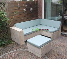 Steigerhouten Lounge Hoekbank gemaakt van Onbehandeld Oud Steigerhout en met een bijpassende All-Weather kussenset Kleur: SEA GREEN