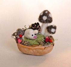 Tiny Mouse and Mushrooms, Needle Felted, Walnut Shell Art. $28.00, via Etsy.