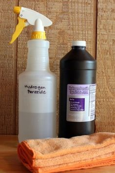 "Hydrogen Peroxide--More Tips  Tip #1 - A Better Spray Bottle Solution  Because HP becomes ineffective when it is exposed to light (that's why it comes in a dark brown bottle), I recommended storing your HP in a cabinet where it is dark.   Tip #2 - Laundry Stain Removal. If you ever get blood on clothing, especially denim, it's amazing how hydrogen peroxide works to get out the stain.""  Add 1 cup of HP instead of bleach to your whites to whiten them."
