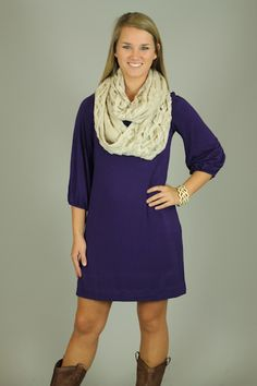 BEST SHIFT TUNIC, GRAPE...This is the perfect basic!! The simple fit and solid color of this dress/tunic make it great for adding your favorite accessories! The 3/4 length sleeves great for Fall, and the shift fit is super comfy! Wear it as a dress, or tunic..just throw on your leggings:)
