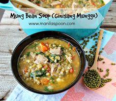 Manila Spoon: Ginisang Munggo (Mung Bean Soup / Stew) with pork Pinoy Veggie Recipe, Filipino Vegetable Recipes, Asian Recipes, Ethnic Recipes, Filipino Recipes, Filipino Dishes, Filipino Food, Hawaiian Recipes, Quick Soup Recipes