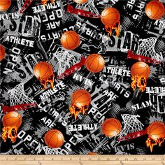 Kanvas All Stars Slam Dunk Black from @fabricdotcom  Designed by Maria Kalinowski for Kanvas in association with Benartex, this cotton print fabric combines a love for basketball with industrialized accents that just might inspire you to hit the courts. It's perfect for quilting, apparel and home décor accents. Colors include black, white, shades of grey, red, yellow and shades of orange.