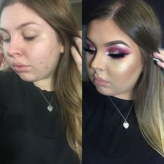 👼🏼Here's my own before and after yes I have acne, yes I has flaws and insecurities but always remember that there's only one you and everyone is unique 💖 used the @makeupgeekcosmetics @mannymua733 palette, @inglot_australia 115 pigment, @mellowcosmetics gel liner, @egyptianqueenbeauty drama queen lashes, @anastasiabeverlyhills stripped liquid lipstick, @anastasiabeverlyhills dip brow in soft brown, @beccacosmetics opal highlighter👼🏼