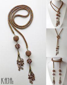 bead crochet lariat with beaded beads & chain tassels