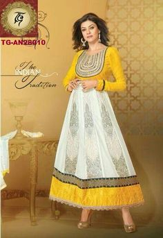 Sushmita White and yellow Floor length Anarkali