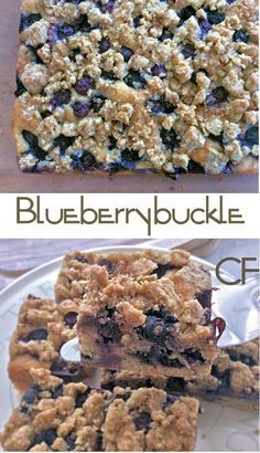 Blueberry buckle cake with wholemeal flour and quinoa and oats topping.
