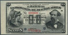 """Banknotes - America, Michel Pick S530s - Argentina: 5 Centesimos 1883 Specimen P. S530s with red """"Specimen"""" overprint at lower border, two cancellation holes and zero serial numbers. This note is rarely seen on the market. It is uniface printed and shows nice design with 2 portraits at left and right, great embossing and crisp paper. Condition: UNC.  Dealer Gärtner Christoph Auktionshaus  Auction Starting Price: 800.00 EUR"""