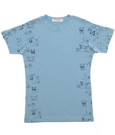 Cat Tee >>> SUPERSWEET | SUPERSWEET x moumi Pimm's Cloudy Blue Tee. Digital Cat Print on Tee in a cardigan style fashion.  #catdesigner #catprint #cat #fabrics #fashion #haberdashery #snowshoe #abyssinianblue #fabric #diy #diyfabric #cattee #cattote #catstickers