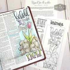 """Behold I make all things new"" Revelation 21:5 . NEW devo + journaling template in the shoppe! . Regrowth from the Ashes -- just $1.00 for 48 hours!. . And features a beautiful tulip sprouting through the chared rocks of one's of life's wildfires. . Template can be traced in the margin of your journaling Bible or just colored and used as a bookmark. . Visit our shoppe at the link in profile! . . . . . . . #BibleJournaling #SoulInspired #ChristianCreative #devotional #BibleReadingPlan…"