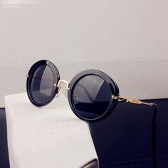USD9.99Fashion Vintage Black Round-fram Metal Sunglasses