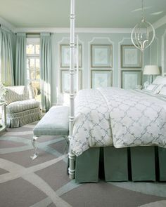 Beautiful soothing shades of green Mediterranean Bedroom - Mediterranean - bedroom - little rock - Tobi Fairley Interior Design - http://www.houzz.com/pro/tobifairley