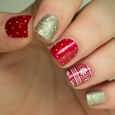 Gorgeous red nail designs with gold glitter accent nails. The Nailasaurus