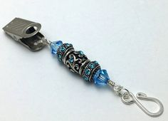 Blue Crystal Portuguese Knit Pin Jewelry- ID Badge Clip On Pin ^^ Save this wonderfull product : Handmade Gifts
