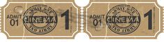 Two Brown Attached Movie Tickets With Number '1' Admit One #admission #admit #antique #arts #box #cardboard #cinema #complex #concert #entertainment #entry #event #fashioned #house #leisure #movie #music #office #old #paper #PDF #performance #performing #premiere #recreation #retro #stub #theater #ticket #time #vectorgraphics #vectors #vectortoons #vectortoons.com #vintage