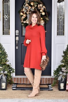 Turtleneck Sweater Dress and Boots - Thompson Hill Red Skirt Outfits, Red Skirts, Holiday Fashion, Winter Fashion, Holiday Style, Winter Style, Sweater Dress Outfit, Fashion For Women Over 40, Sexy Older Women