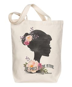 Look at this 'She Smiles' Canvas Tote on #zulily today!