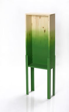 "A gradient cabinet - Instead of choosing between two different approaches to furniture design, the cabinet appearance changes from a bare natural material to a synthetic unifying color - wood, steel - ""Sucker"" designed by Reddish, 2009"
