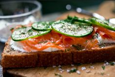 Smoked salmon with horseradish cream cheese on danish rye Yep , made my lax yesterday.. best ever!!