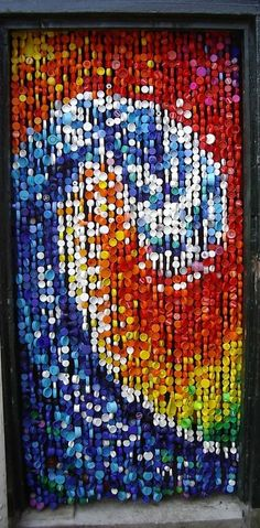 Recycled plastic bottle top curtain (would be PERFECT for the kids' playhouse door!) | Wikipedia