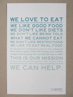 We Love to Eat Manifesto by Foodspiration on Etsy, $20.00