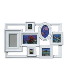 Another great find on #zulily! White Seven-Photo Floating Collage Picture Frame #zulilyfinds -Lisa, a way to use up odd sized/different profile frames? Or footage?