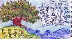 :Art journal bible verses peggy aplseeds: blessed is the man: prayer journal i My Bible, Bible Art, Bible Scriptures, Free Bible, Psalm 1, My Prayer, Jesus Prayer, Prayer Room, Scripture Quotes