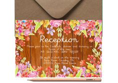 Rustic WEDDING RECEPTION CARD Printed or by LoveArtsStationery