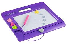 """Fisher-Price Slim Doodle Pro, Purple  Big magnetic drawing screen  Easy-slide eraser """"magically"""" cleans screen  Includes 4 shape stampers - square, triangle, circle and star  Pen and stampers store securely on the Doodle Pro Slim  Ships in Frustration Free Packaging"""