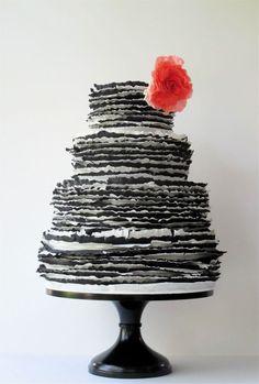 Love this ruffled black and white cake..