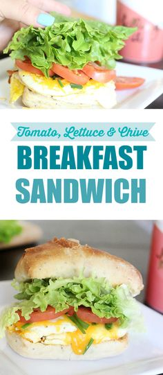 Tomato, Lettuce & Chive Breakfast Sandwich. Fresh eggs and cheese make this a surprising breakfast. AD #UpgradeWithHellmanns