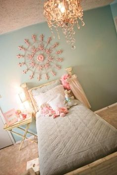 "I LOVE the ""shabby chic"" style, and I think this little girl's bedroom  accomplishes it well."