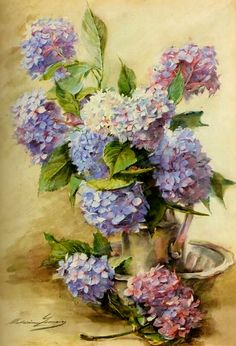 The Athenaeum - Blue Hortensias (Madeleine Jeanne Lemaire - ) Art Floral, Watercolor Flowers, Watercolor Paintings, Illustration Blume, Pictures To Paint, Beautiful Paintings, Vintage Flowers, Flower Art, Decoupage