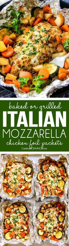 Baked or Grilled Italian Mozzarella Chicken Foil Packets are bursting with astonishingly juicy, flavorful chicken and tender, seasoned Potatoes, Carrots and Zucchini all smothered with Mozzarella Cheese! These foil packets are meal-in-one that are quick to throw together and even quicker to clean up!