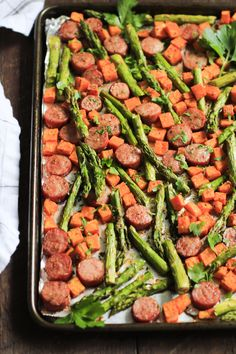 This One-pan Sausage with Sweet potato and Asparagus recipe is all made in one-pan, which is great for cleaning up and it's ready in 15 minutes.