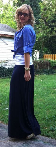 How to wear a maxi dress as a skirt ... my dress would probably be perfect! eek!