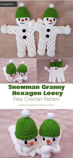 Snow-Themed Toys Free Crochet Patterns Snowman Granny Hexagon Lovey Free Crochet Pattern This is a lovely lovey that will be greatly enjoyed by kids (stocking stuffer, hint hint!) or will function equally well as. Free Form Crochet, Crochet Lovey, Crochet Dolls, Crochet Granny, Doilies Crochet, Crochet Angels, Blanket Crochet, Knit Crochet, Crochet Christmas Decorations