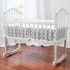 Gray and White Dots and Stripes Cradle Bedding for Your Baby's Nursery by Carousel Designs.
