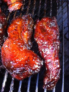 Amazing slow smoked country style ribs coated in a peach preserve glaze!