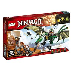 Place Green Ninja Lloyd on the saddle, grab the chain reins and launch into the air. Flap the Green NRG Dragon's huge wings to fly high and attack the sky pirates' lookout tower with its snapping mouth and dangerous talons. Swerve through the ai
