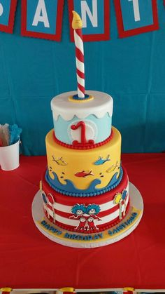 Dr Seuss 1st Bday Cake Cat In The Hat Thing 1 And 2 One Fish Two Red Blue Santiagos First Birthday Marvel CakesCupertino CA