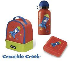 Drinking bottle, lunch bag & sandwich keeper Crocodile Creek!  Μοναδικά σχέδια και ποιότητα! Back 2 School, Crocodile, Water Bottle, Drinks, Drinking, Crocodiles, Beverages, Back School, Water Flask