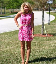love this bright pink dress with belt